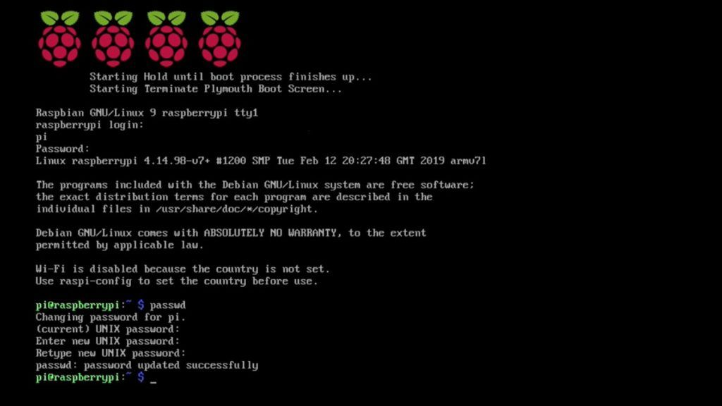 Raspbian Lite Terminal Change Default Raspberry Pi Password