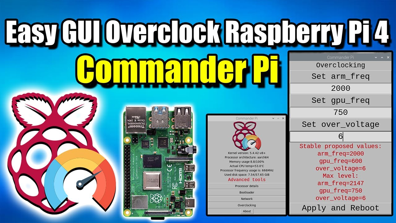 Easy GUI CPU and GPU Overclock For the Raspberry Pi 4 – How To Install Commander Pi