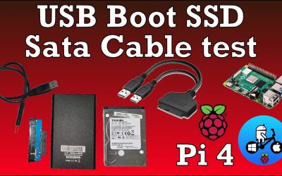 Raspberry Pi 4 USB boot. USB to sata cable test. SSD, HDD Raspberry Pi OS 64bit.