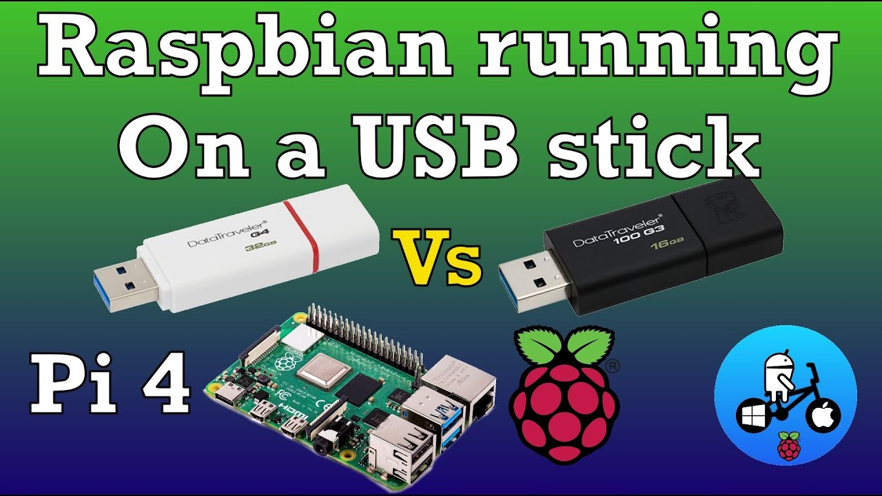 USB stick running Raspbian. Speed test. Raspberry Pi 4.