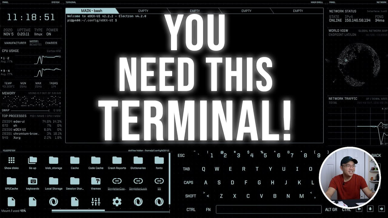 Awesome Linux Terminal eDEX-UI on the Raspberry Pi!!