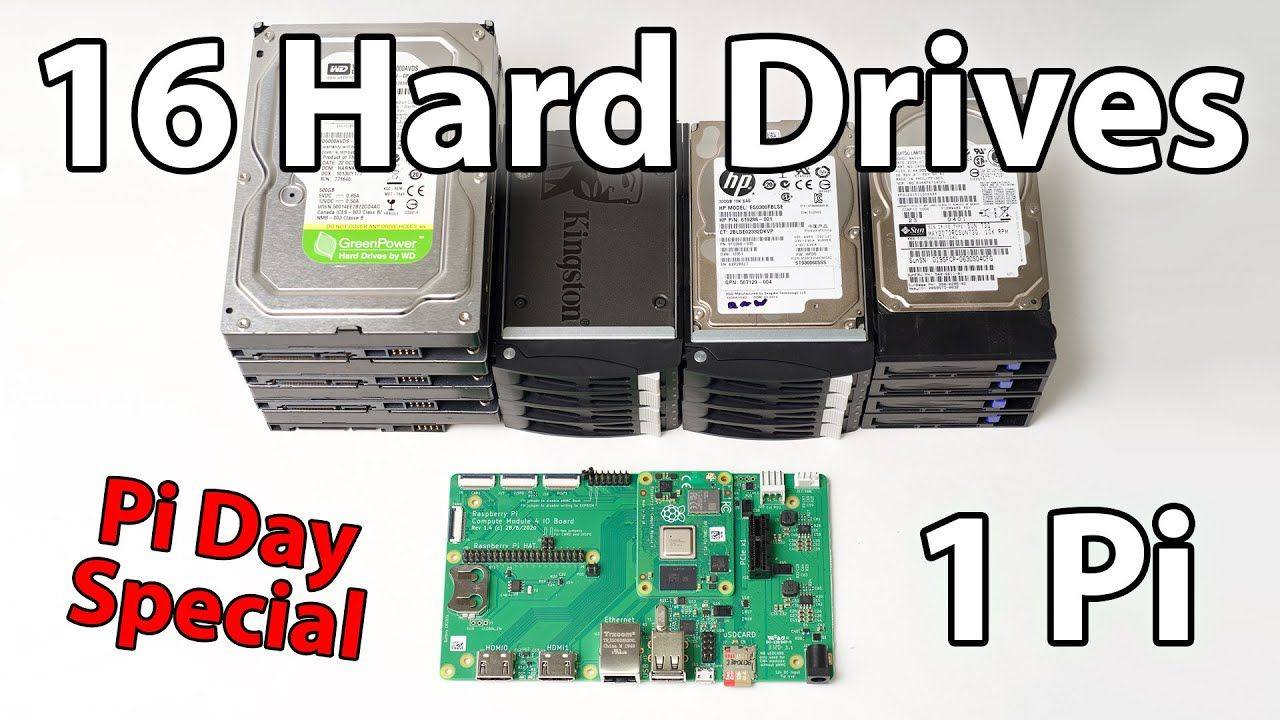 IT WORKED! – 16 Hard Drives on the Raspberry Pi (Pi Day Special)
